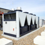 Air cooled water chillers on roof