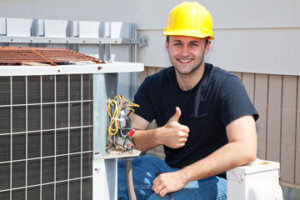 HVAC repair man giving thumbs up