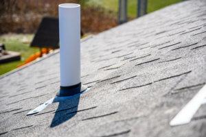 PVC plumbing vent on roof